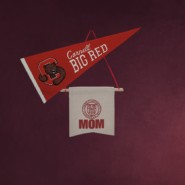 Big Red pennant, Mom banner, and diploma